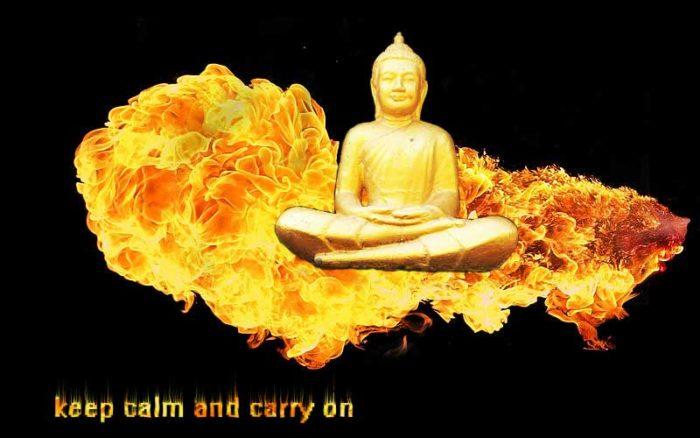 Budda na płomieniach. Podpis keep calm and carry on.