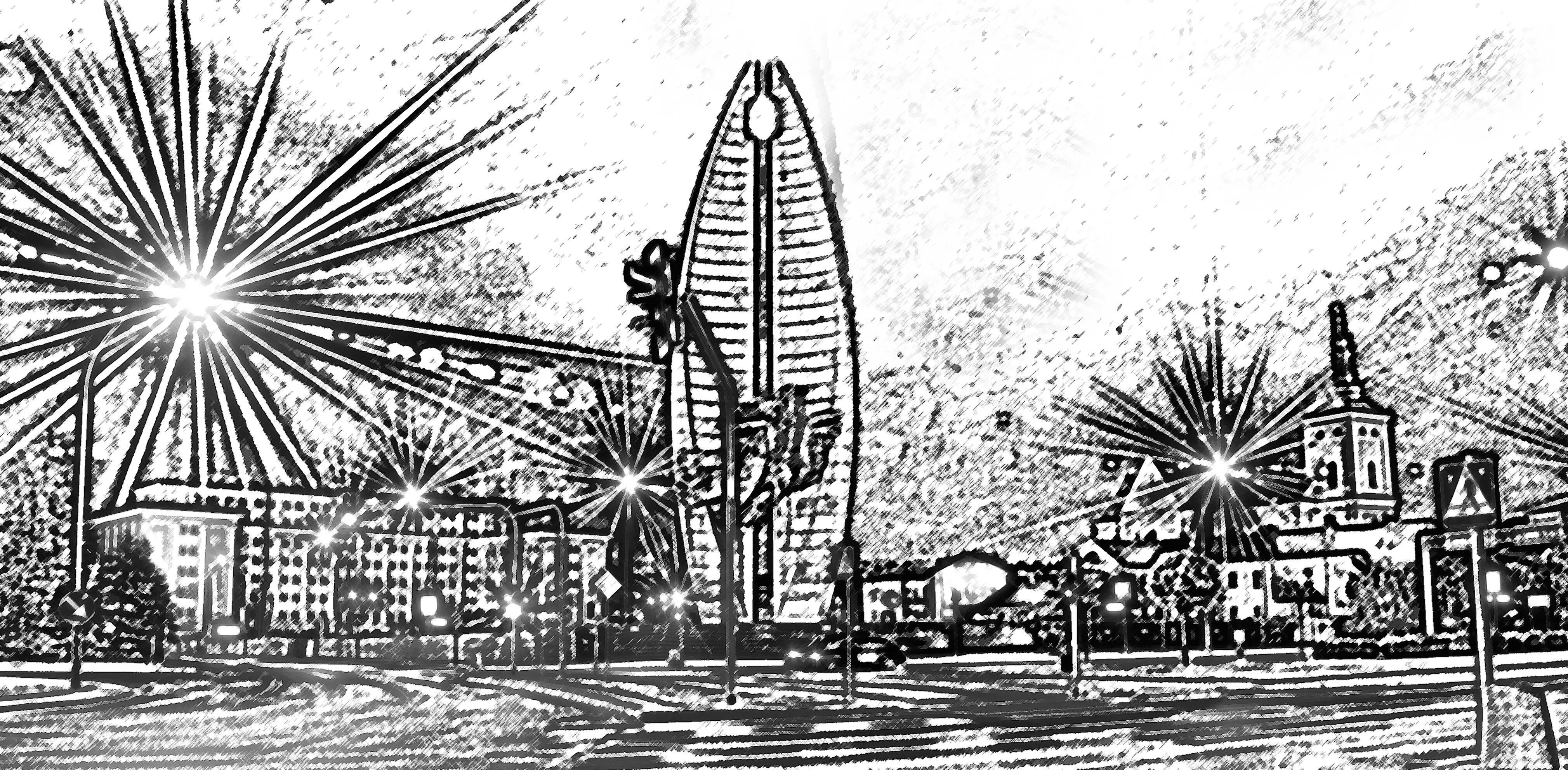 Czarno biała grafika przedstawiająca pomnik Czynu Rewolucyjnego w Rzeszowie.