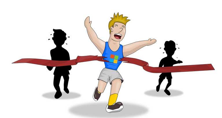 Rysunek chłopaka przerywającego wstęgę mety. Za nim dwie ciemne postaci biegnące wolniej.