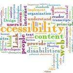 Wiele napisów w poziomie i pionie związanych z dostępnością np. accessibility, content, understand, users, disabilities, hearing, developers, design, standards.