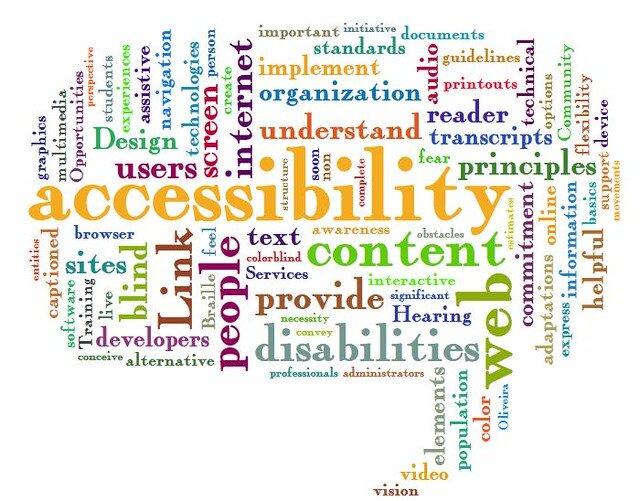 Wiele napisów np. accessibility, content, understand, users, disabilities, hearing, developers, design, standards. Napisy są różnych wielkości i niektóre są w poziomie a niektóre w pionie.