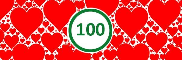 Wynik audytu accessability z wynikiem 100 w otoczeniu różnej wielkości czerwonych serduszek.