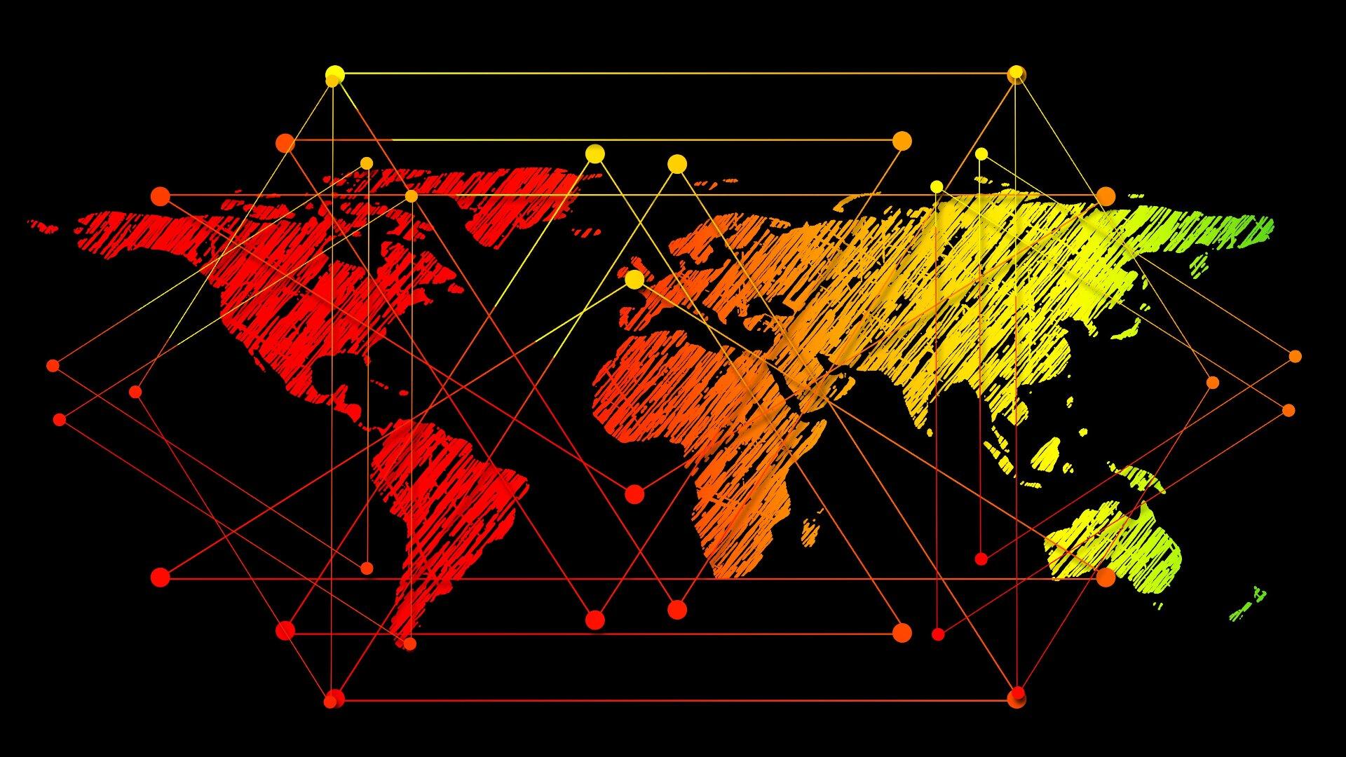 Mapa świata z liniami łączącymi różne miejsca na świecie.